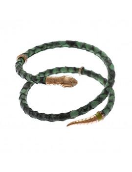 Pulsera Plata Serpiente Pitón Verde
