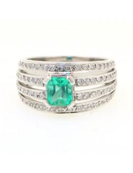 Anillo oro blanco diamante / esmeralda