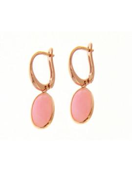 Pendientes Oro Rosa Piedra Cuarzo Rosa