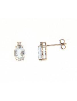 Pendientes Oro Aguamarina Diamante