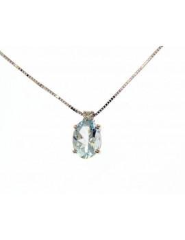 Colgante y Cadena Aguamarina Diamante