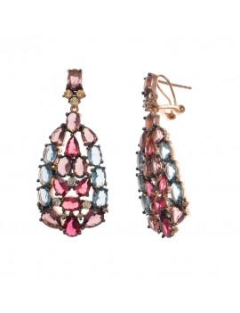 Pendientes Plata Rosada Cristales de Color