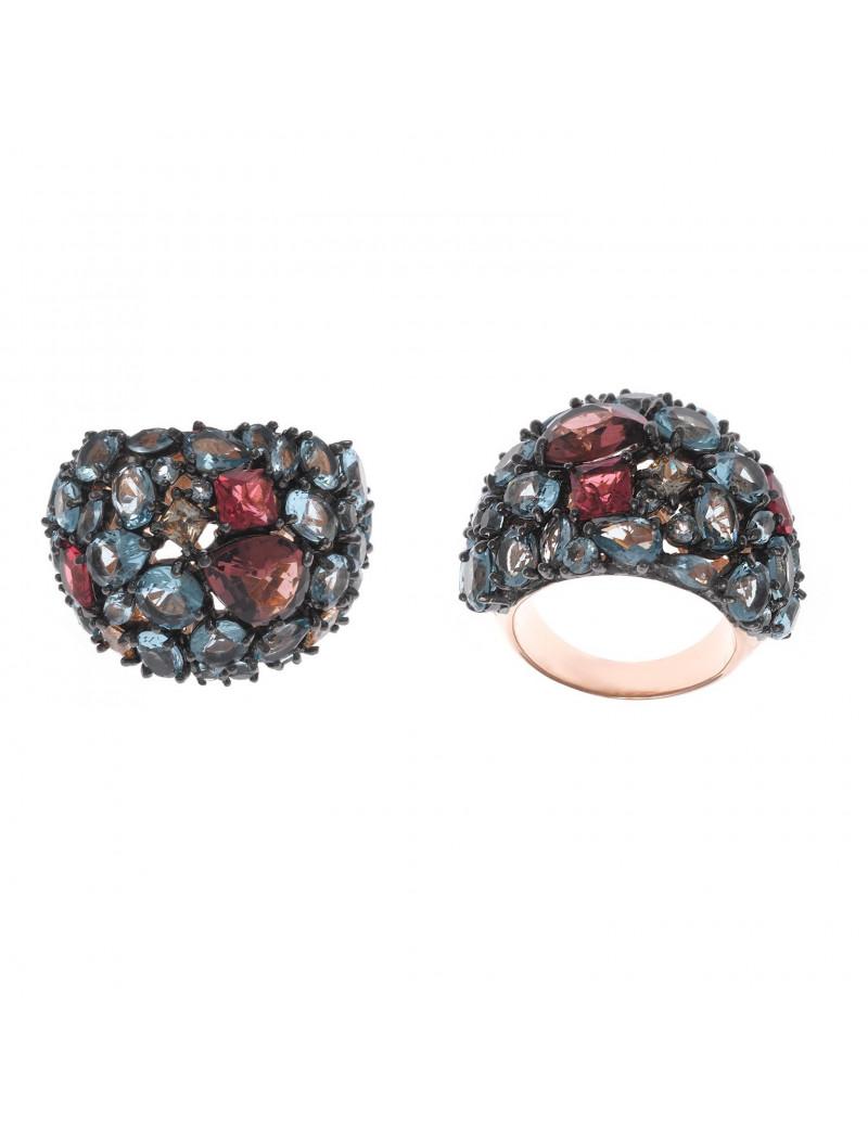 Sortija Plata Rosa Cristales Amatista, Rubis