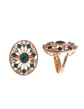 Anillo Oval Cristales Verdes