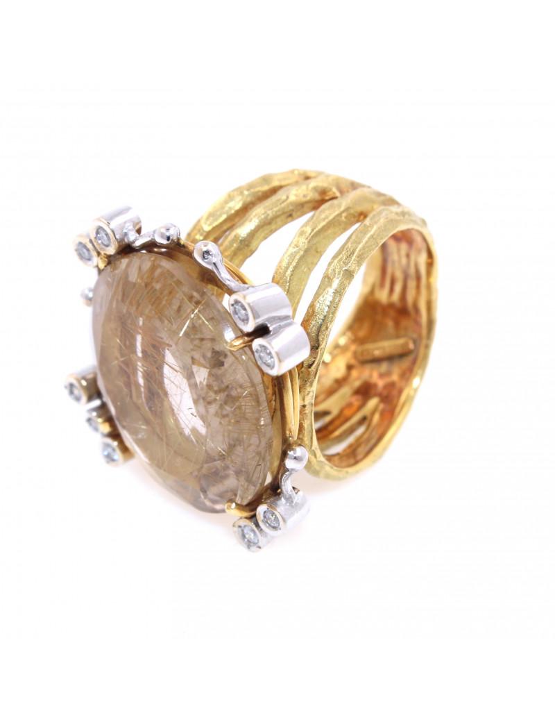 Anillo Cuarzo Rutilado y Diamantes