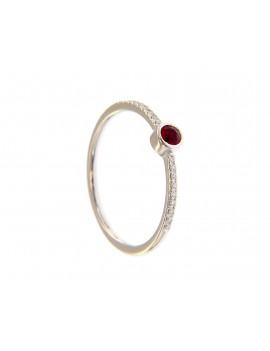Anillo Chaton Rubi y Diamantes