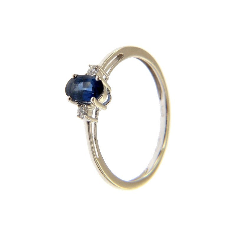 e5656b06df71 Anillo de Oro Blanco con Zafiro y Diamantes