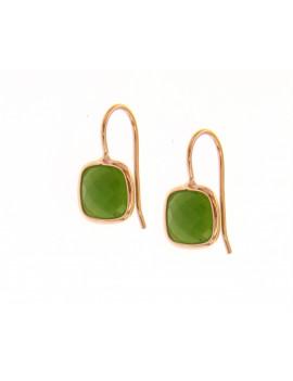Pendientes Oro Rosa Piedra Verde Aventurina