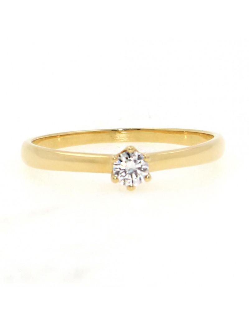 Solitario oro amarillo 18K con diamante