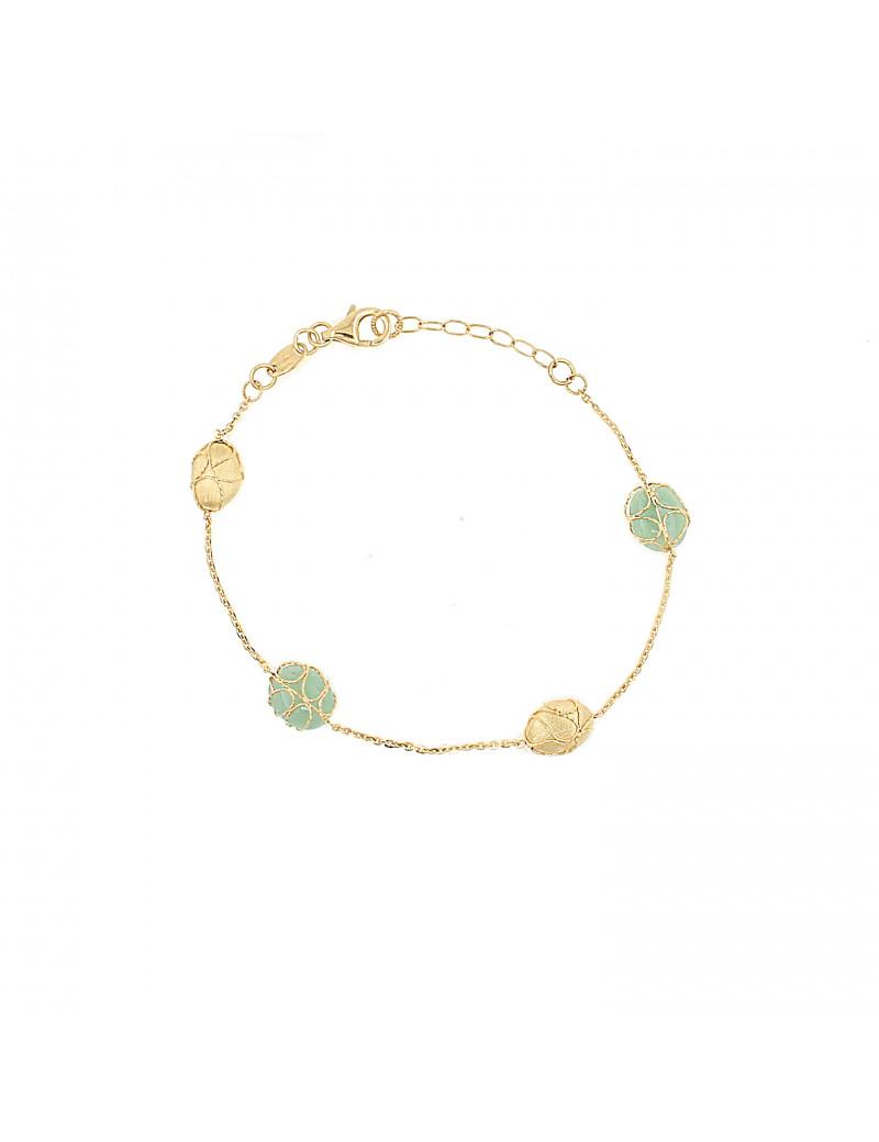 pulsera con pepitas de oro y piedras verdes aventurina