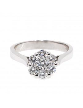 Anillo roseton oro bl.con diamantes