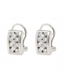 Pendientes Oro Blanco Con Tiras de Diamantes