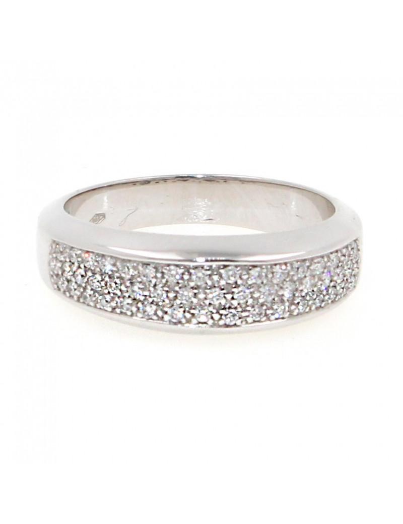 Alianza oro blanco 18K con diamantes estilo pave
