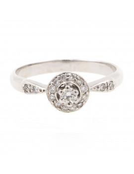 Anillo Rosetón Oro Blanco 18K Diamantes