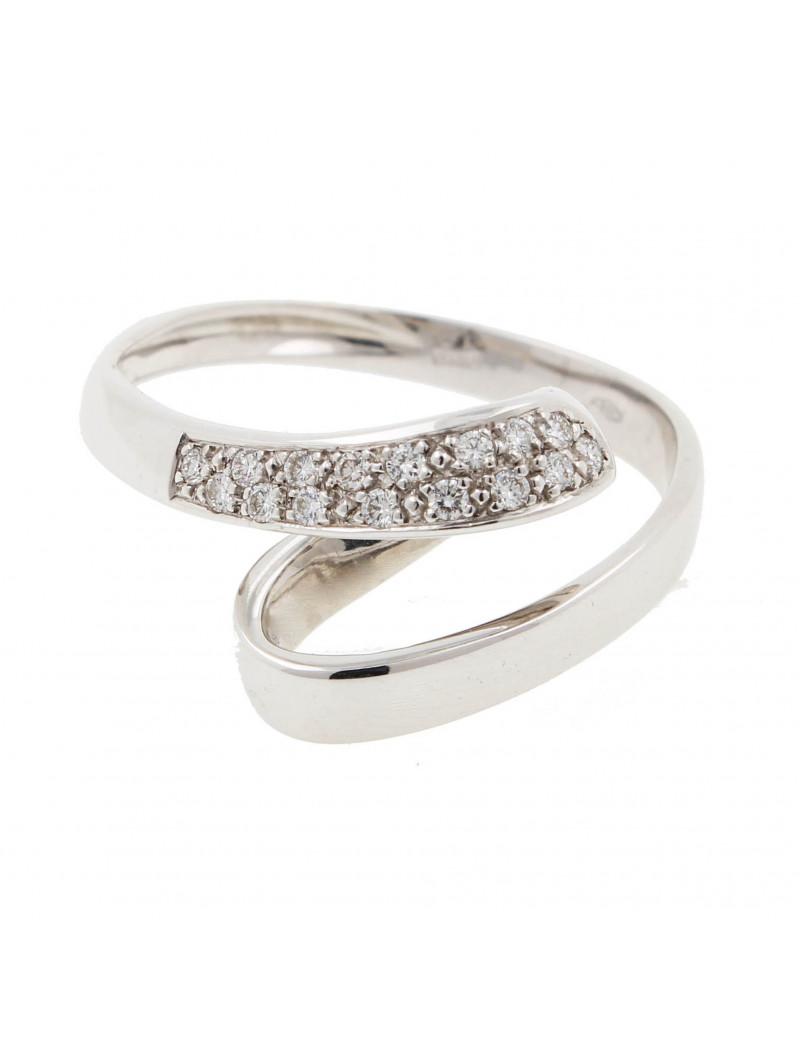 Anillo Oro Blanco con diamantes  en pave