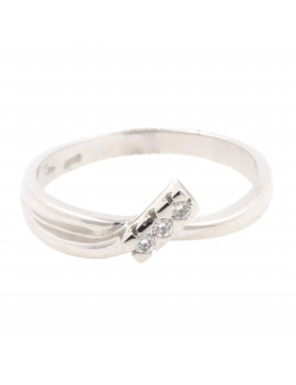 Anillo Oro Blanco Tri Diamantes
