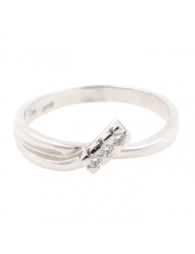 Anillo Oro Blanco Tri Diamantes