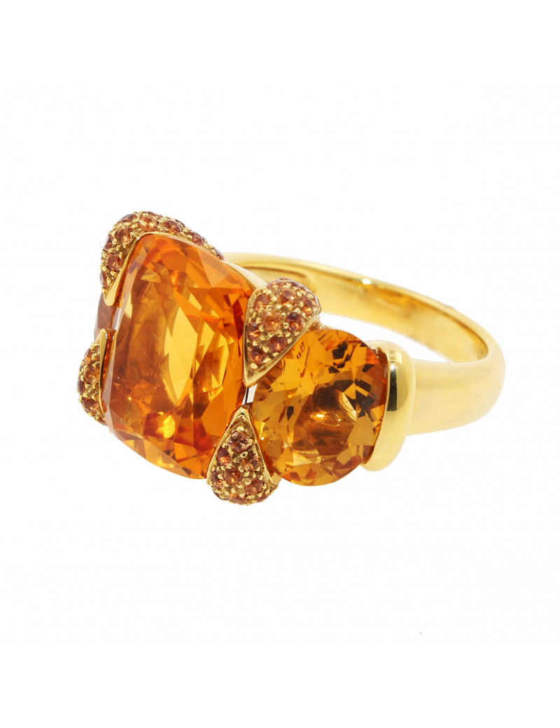 Anillo oro Amarillo18K con Citrino y Topacio
