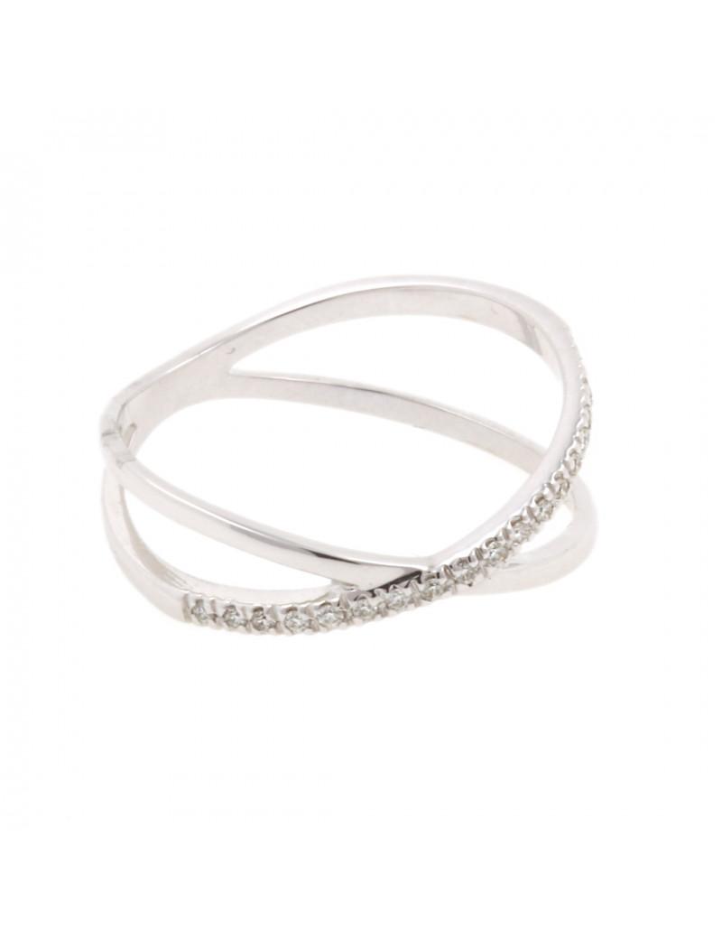 Anillo Oro Blanco Aros de Diamantes