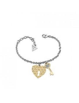 Pulsera Guess Mujer Corazón con Llave Acero Dorado