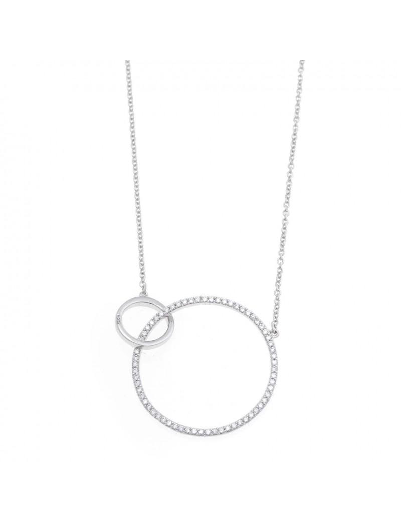 Collar Plata Rosa Circulos Entrelazados Circonitas