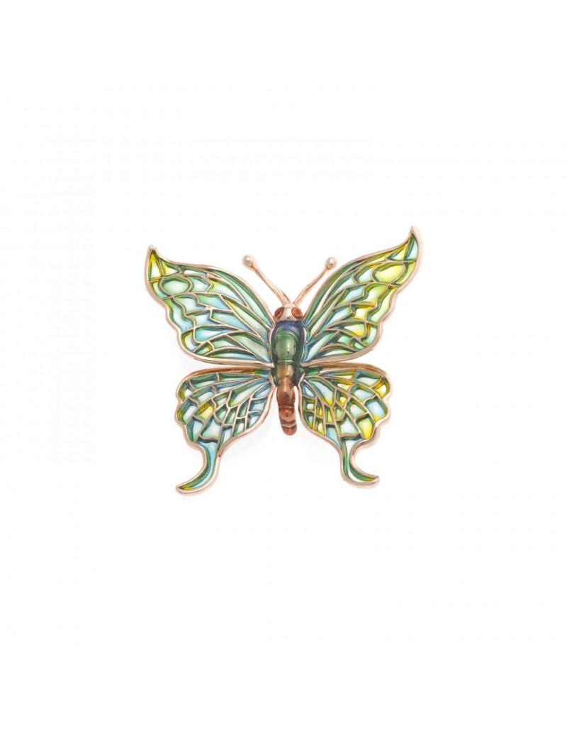 Broche Plata Chapado Rosa Mariposa Esmalte Verde