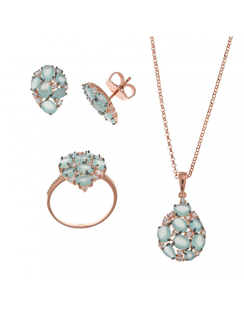 Conjunto plata rosa de pendiente, collar y sortija