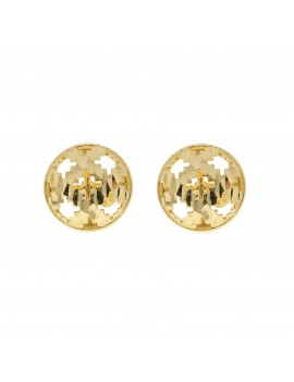 Pendientes Oro Cruces Relieve Circular
