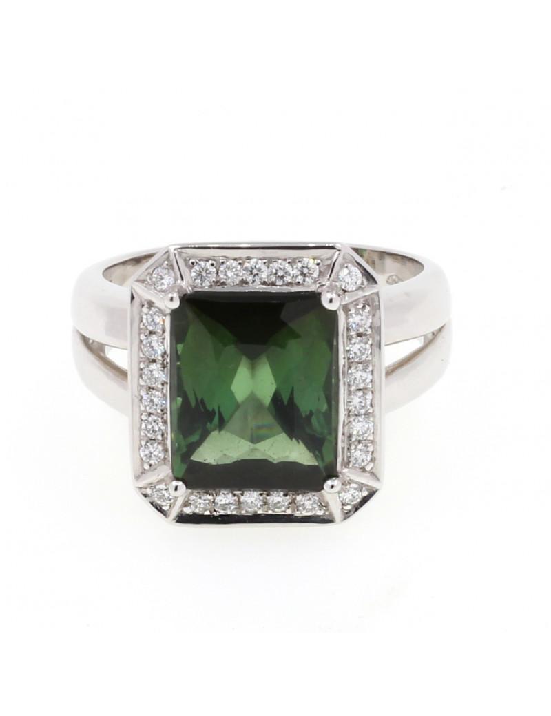 Anillo oro blanco diamantes / turmalina