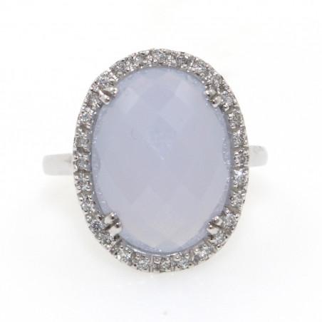 Anillo oro blanco diamantes / calzedonia