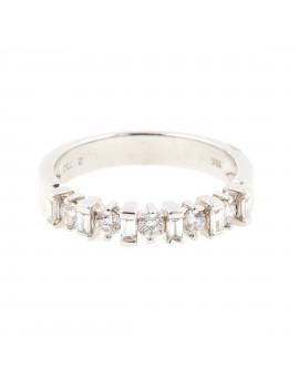 Alianza Oro Blanco Diamantes Baguettes Brillantes