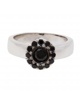 Anillo Oro Blanco Rosetón Diamantes Negro