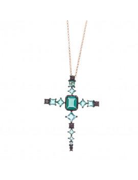 Collar Cruz Cristal Turmalinas