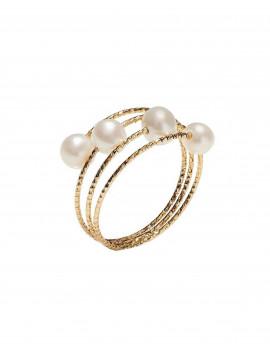 Trilly Anillo Espiral Perlas