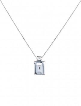 Colgante Aguamarina y Diamante