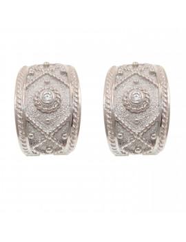 Pendientes Oro Blanco Diamantes Etrusco Criolla