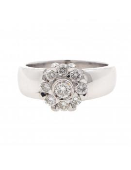 Anillo Rosetón Diamantes Oro Blanco