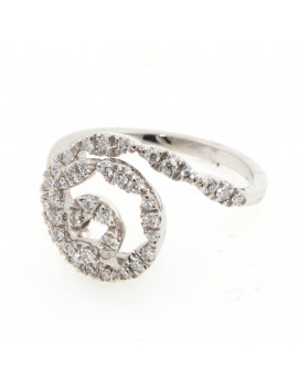 Anillo Oro Blanco Espiral Diamantes