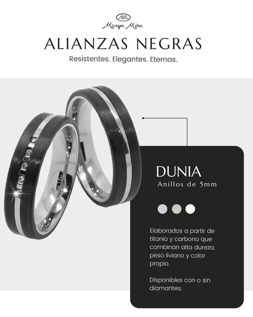 dunia anillo negro diamantes - donde comprar alianzas negras titanio carbono - joyeria marga mira