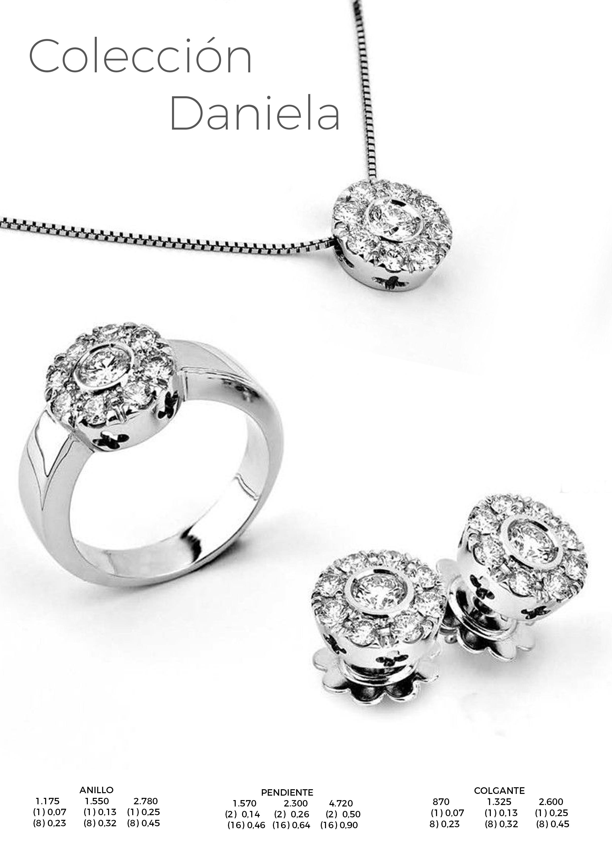 coleccion daniela - anillo, pendiente y colgante roseton diamantes - joyeria marga mira