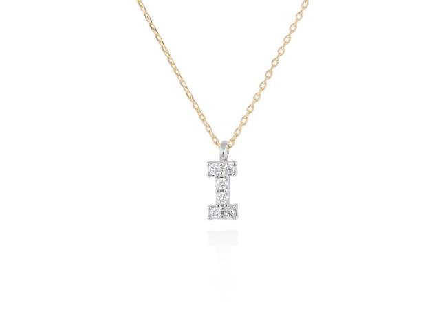 collar letra I diamantes - collar mujer inicial I oro diamantes - mejores joyerias online - joyeria marga mira