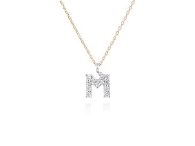 collar letra m diamantes - collar mujer inicial k oro diamantes - mejores joyerias online - joyeria marga mira
