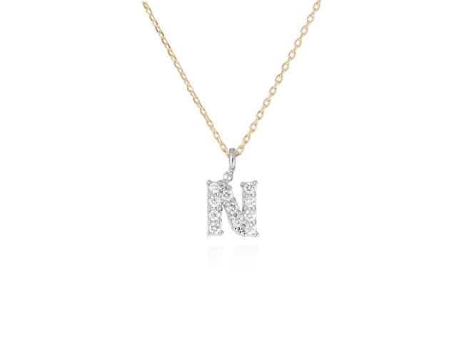 collar letra n diamantes - collar mujer inicial n oro diamantes - mejores joyerias online - joyeria marga mira
