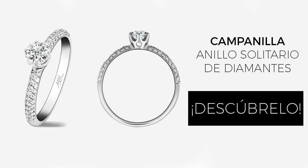 campanilla anillo mujer oro blanco diamantes - donde comprar anillos de compromiso online - joyeria marga mira