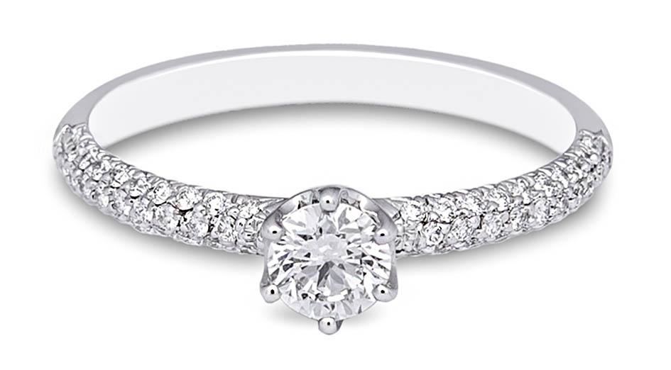 campanilla anillo solitario oro blanco diamantes - sortija oro y brillantes - ideas anillos compromiso - gold diamonds rings alicante