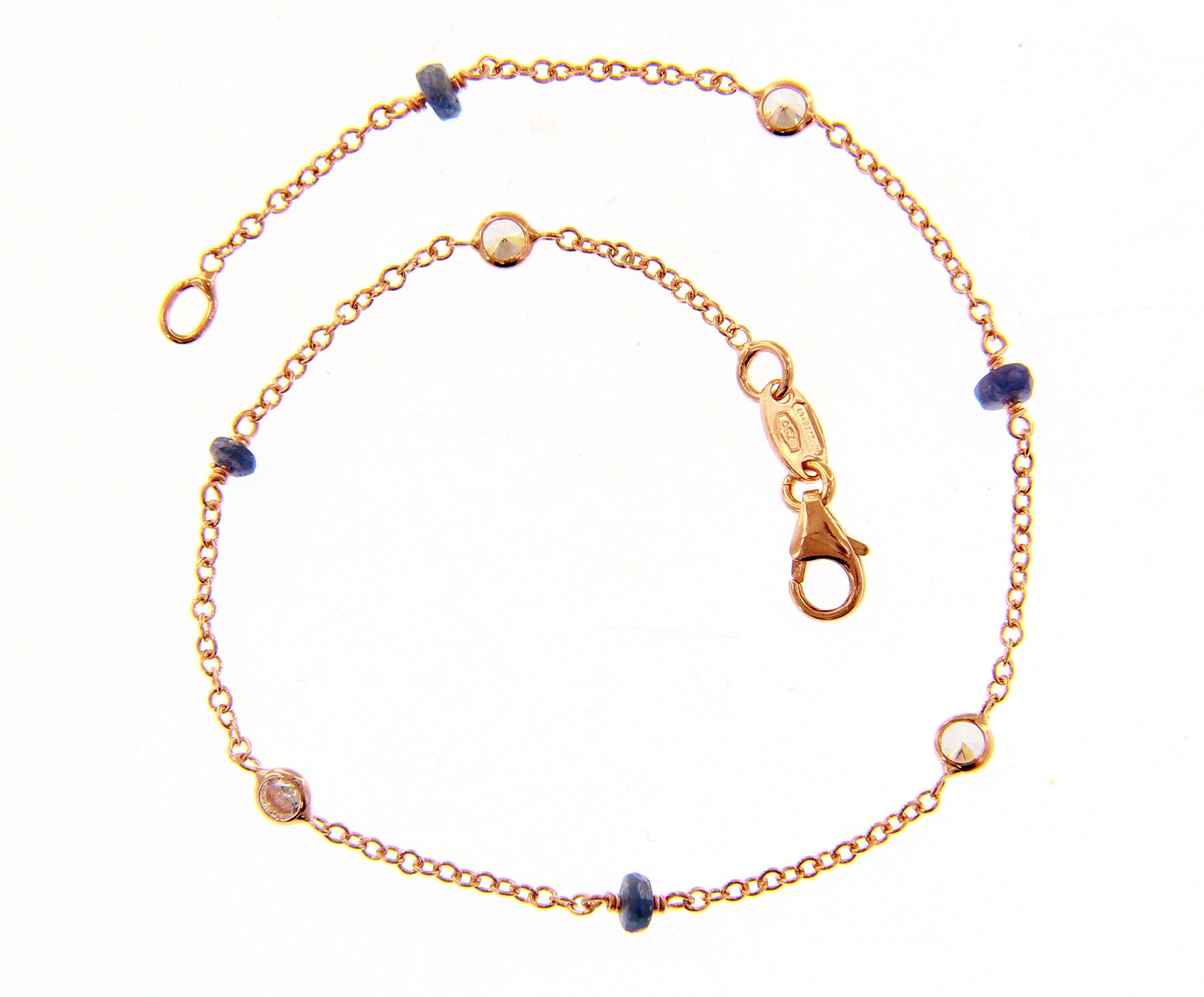 pulsera mujer oro rosa circonitas piedras azules - brazalete oro mujer para comprar en joyeria online - mejores joyerias online españa - joyeria marga mira