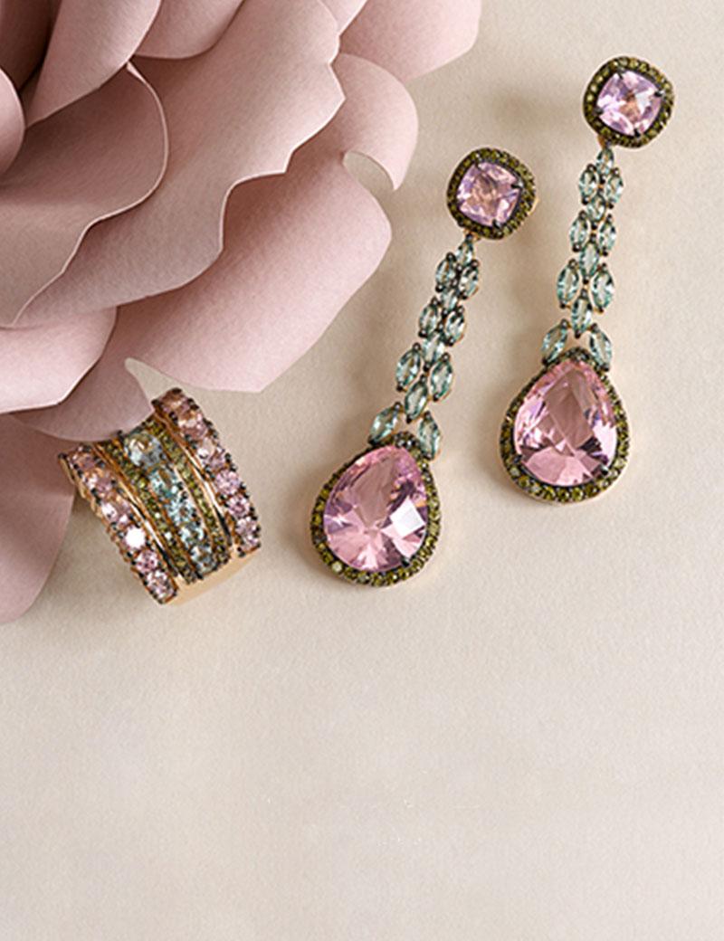 pendientes de plata largos - pendientes color verde y rosa
